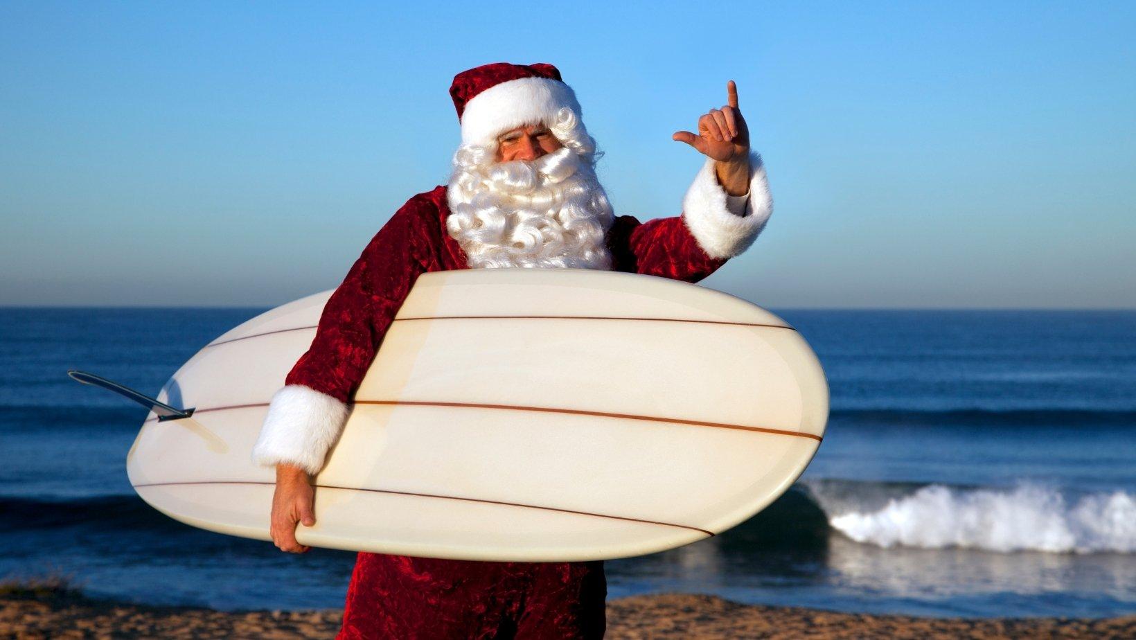 Santa on the beach, New South Wales, Australia