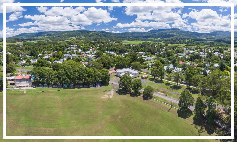 Aerial of the historic town of Berry by Dee Kramer Photography; Destination NSW
