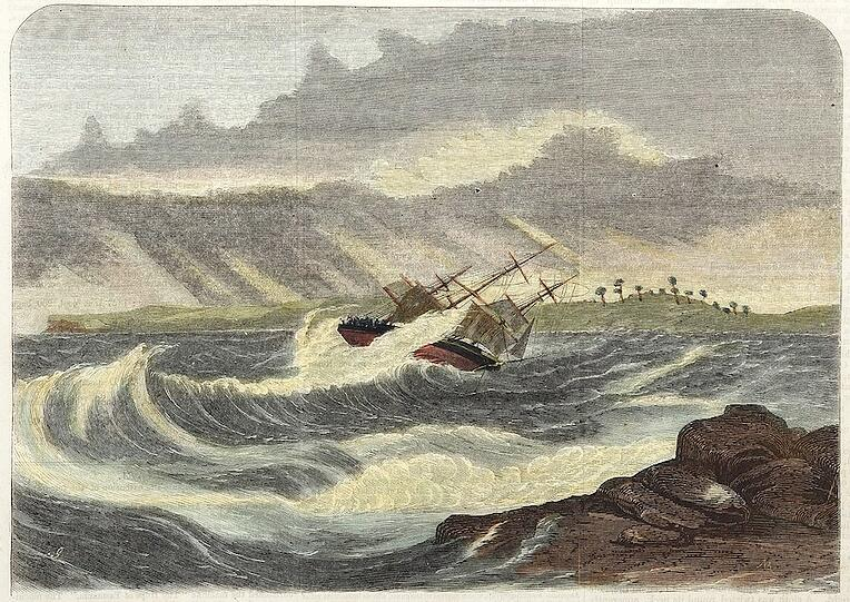 Engraving-by-Samuel-Calvert-1828-1913-from-Sydney-Illustrated-News-Page-1-11-May-1870-Wreck-of-the-clipper-ship-Walter-Hood