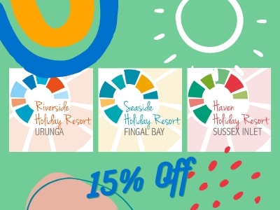 Get 15% off accommodation rates at Riverside, Seaside and Haven Holiday Resorts in Coastal NSW